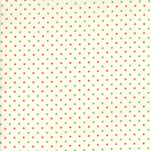 Moda - Essentially Yours - Dots - White Red Green Cotton Patchwork Fabric
